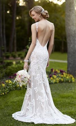 Stella York 5984! Beach lace country romantic wedding dress open back low back