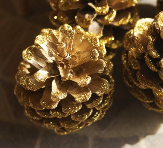 Gold Glitter Pine Cones Metallic Gold Pinecones by Teakberry