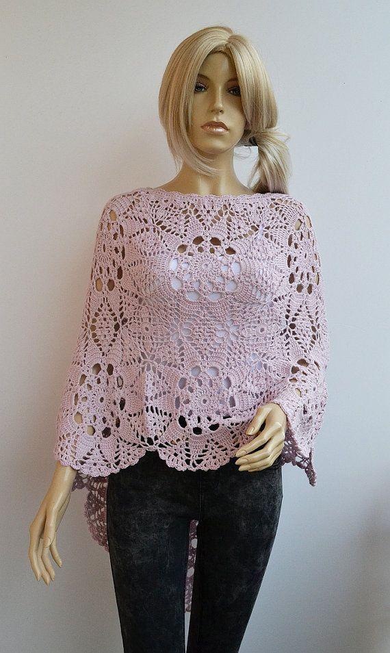 Lovely powder pink crochet poncho womans tank romantic by dosiak