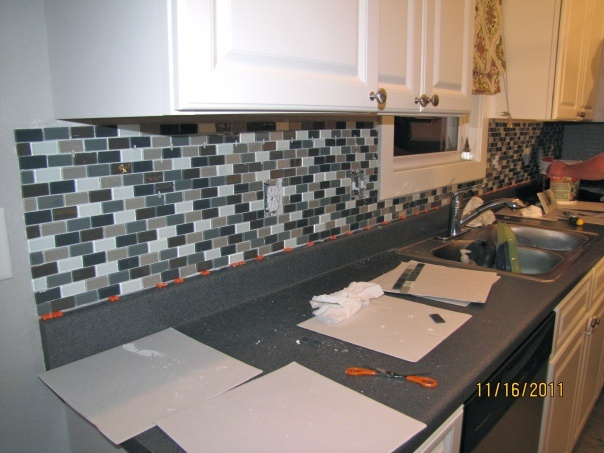 easy diy glass tile backsplash home pinterest