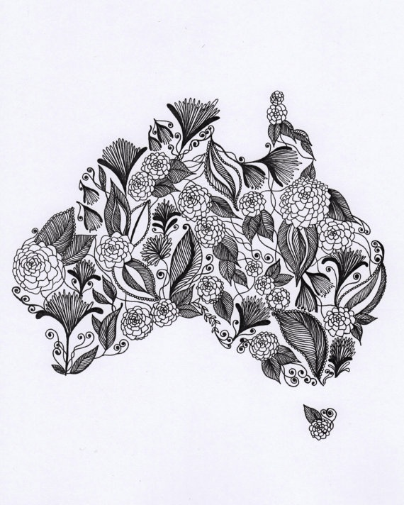 Australia Patterned Art Drawing 8x10 Print by ArtbyTheLittleLeaf, $18.00