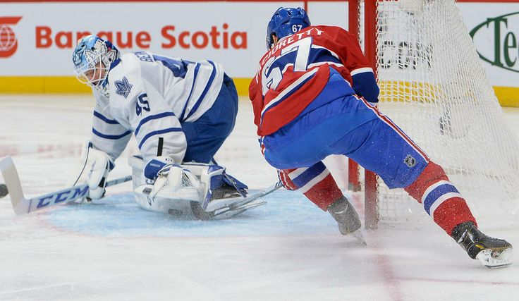 Jonathan Bernier #45 Toronto Maple Leafs and Max Pacioretty #67 Montreal Canadiens