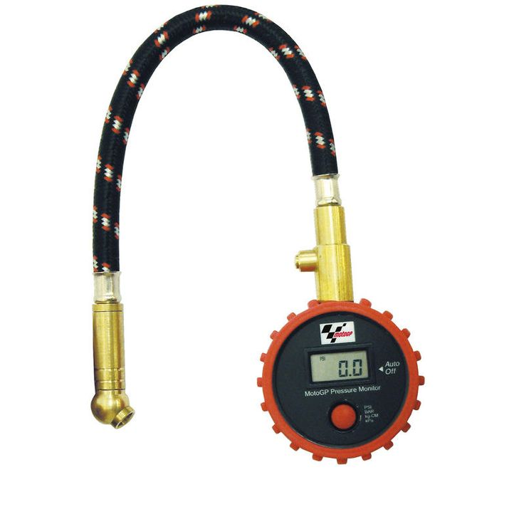 Moto GP Tyre Pressure Monitor  Description: The Moto GP Motor cycle Air Gauge is packed with       features…              Specifications include                      Essential digital tyre pressure gauge                    Digital display                    Selectable pressure ratings (PSI/BAR/kPa/kg/CM)                ...  http://bikesdirect.org.uk/moto-gp-tyre-pressure-monitor/
