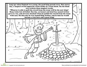 King Arthur Coloring Page Prek K Knights And Dragons King