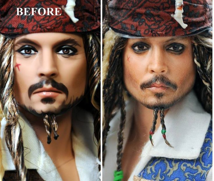 Before and After - Custom repaint and hair restyle of 12 inch Pirates of the Caribbean Jack Sparrow Johnny Depp doll