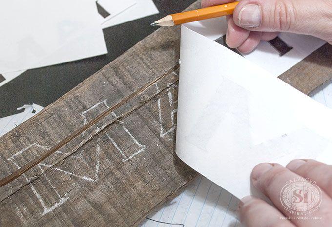 Font Chalk Transfer for Pallet Sign