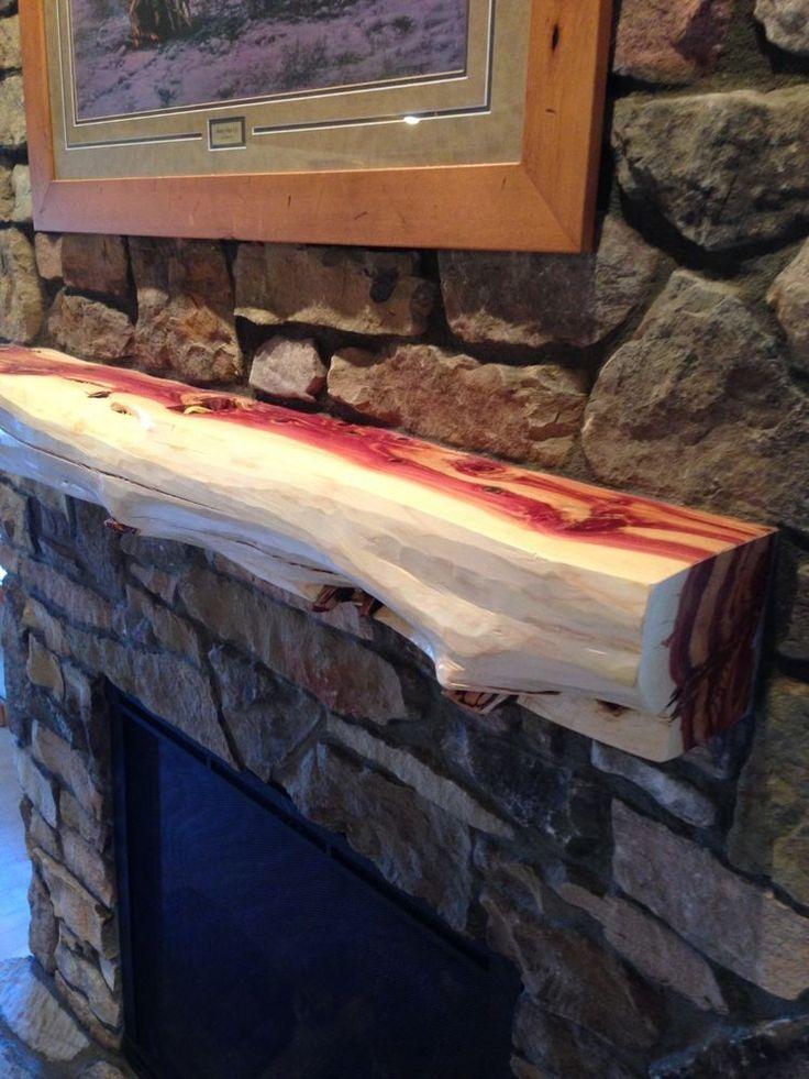 5' Red cedar fireplace mantel, beam log rustic juniper handpeeled log furniture  #KALogFurnitureLLC #Lodge