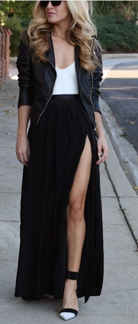 Slit maxi skirt, white thank top and a leather jacket.