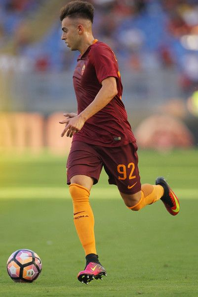 Stephan El Shaarawy of AS Roma in action during the Serie A match between AS Roma and Udinese Calcio at Olimpico Stadium on August 20, 2016 in Rome, Italy.