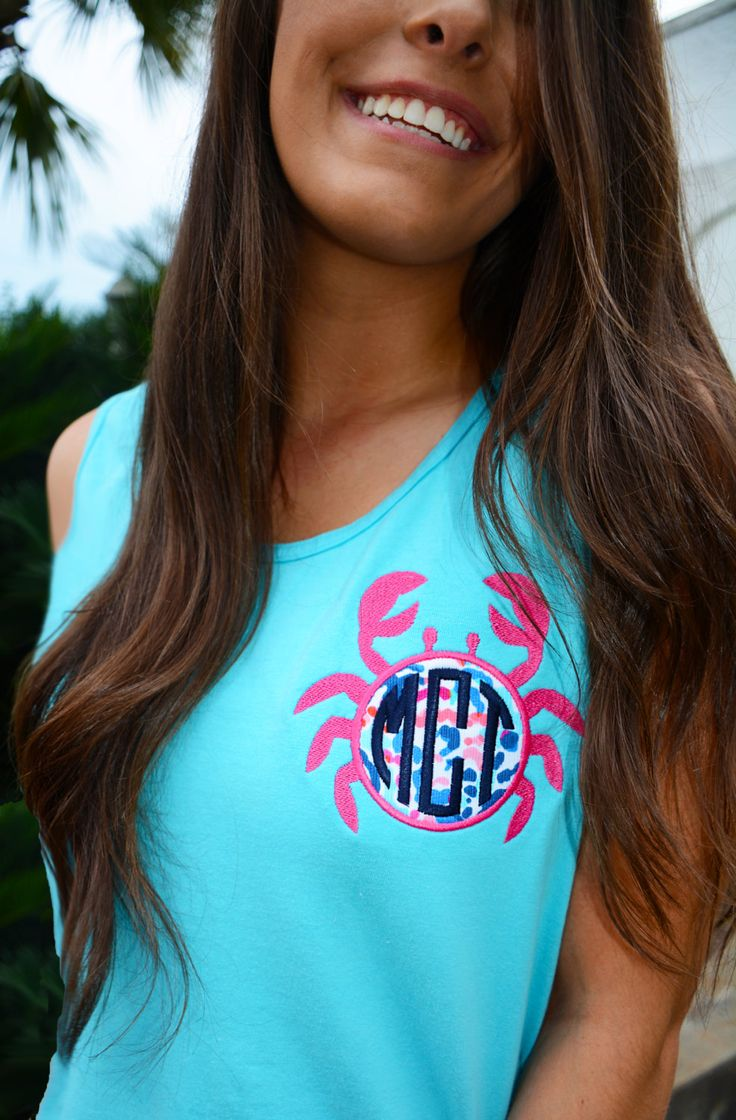 Monogrammed Comfort Colors Tank Top with Lilly Pulitzer Crab Applique by TantrumEmbroidery on Etsy