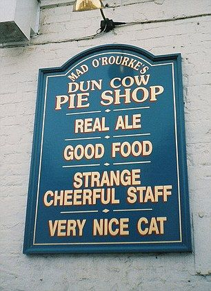 This pub sells itself on its 'strange cheerful staff' and 'very nice cat'