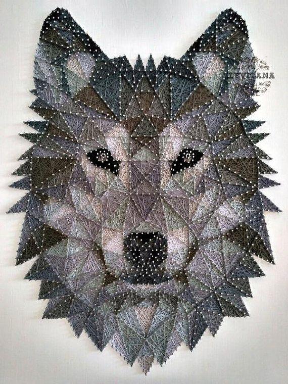 String Art Wolf Wood Wall Art Gray Tones Animals String