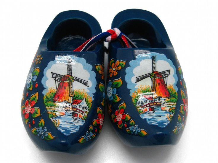 """Wooden Shoe Clogs Dutch Landscape Design Blue (3.25"""")"""