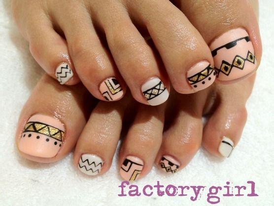 Pedicure, Toe Nail Art: Tribal inspired