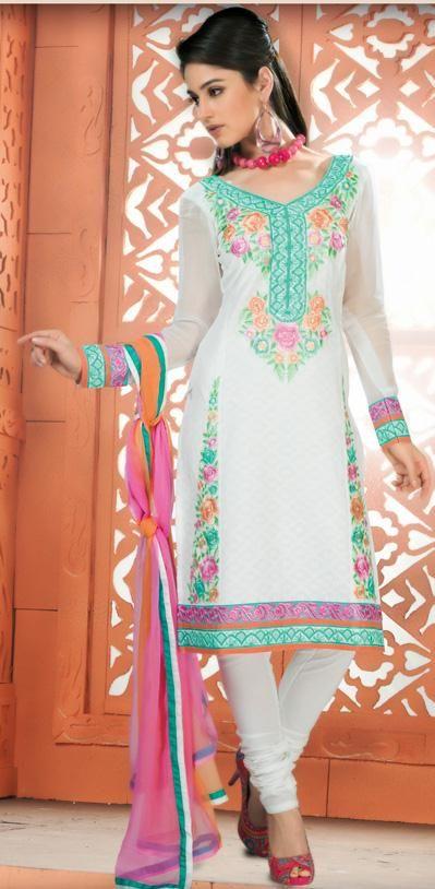 $55.72 White Resham Work Cotton Churidar Salwar Kameez 26578