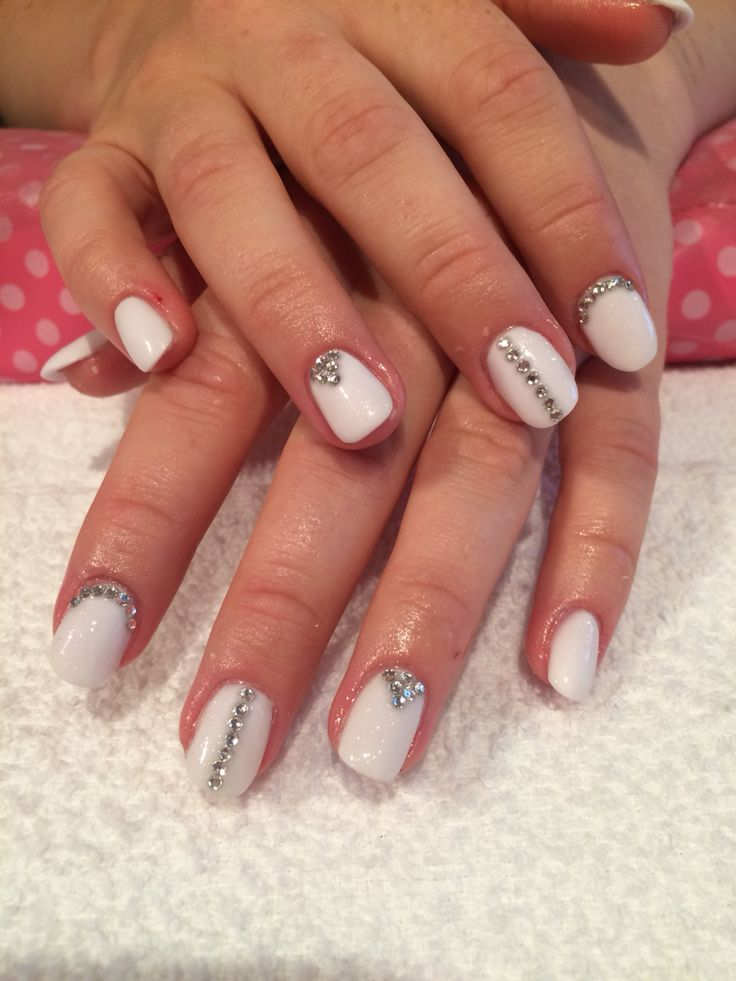 """Bridal Nails"" white acrylic with Swarovski crystals #bridal #bridalnails #weddingnails #nails #acrylic #swarovski #negler #akryl #akrylnegler #nailart #swarovskicrystals #californianails #acrylicnails"