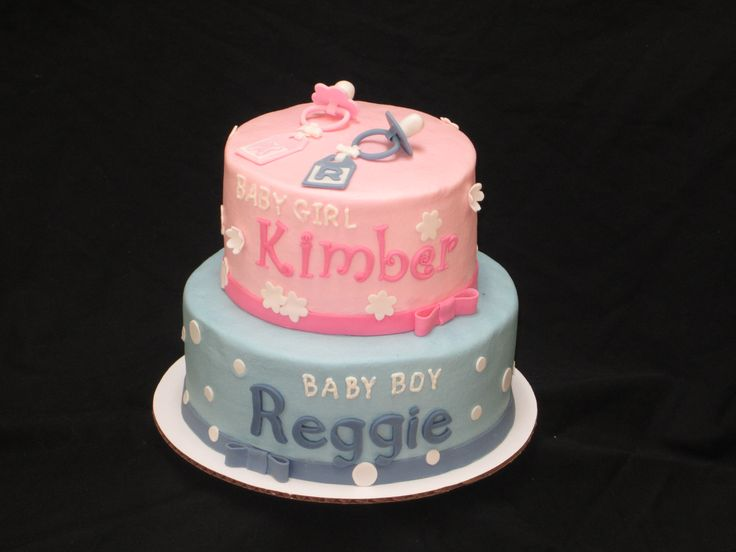 Baby Shower Cake Pictures For Twins : Baby shower cake for boy/girl twins My Cakes Pinterest ...