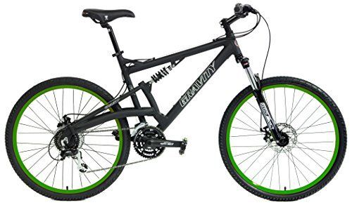 2016 Gravity FSX 2.0 Dual Full Suspension Mountain Bike Shimano Acera Suntour (Matt Black with Green Wheels, 17inch) - http://www.bicyclestoredirect.com/2016-gravity-fsx-2-0-dual-full-suspension-mountain-bike-shimano-acera-suntour-matt-black-with-green-wheels-17inch/