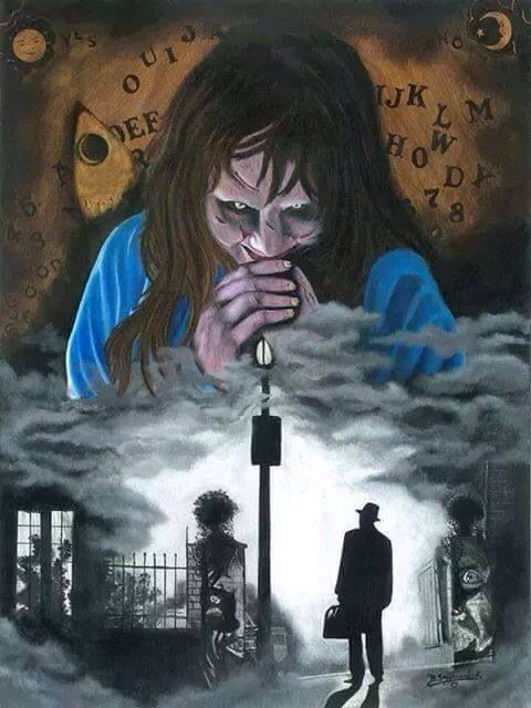 The Exorcist (1973) - Horror art  The Exorcist is a 1973 American supernatural horror film directed by William Friedkin, adapted by William Peter Blatty from his 1971 novel of the same name. The book, inspired by the 1949 exorcism of Roland Doe,[3][4] deals with the demonic possession of a 12-year-old girl and her mother's attempts to win back her child through an exorcism conducted by two priests.