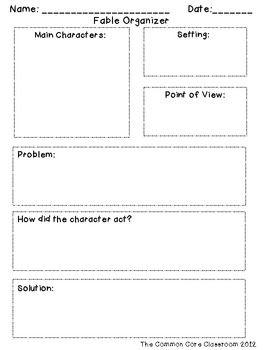 Fable Organizer: RL 2.2- Recount, determine moral of story