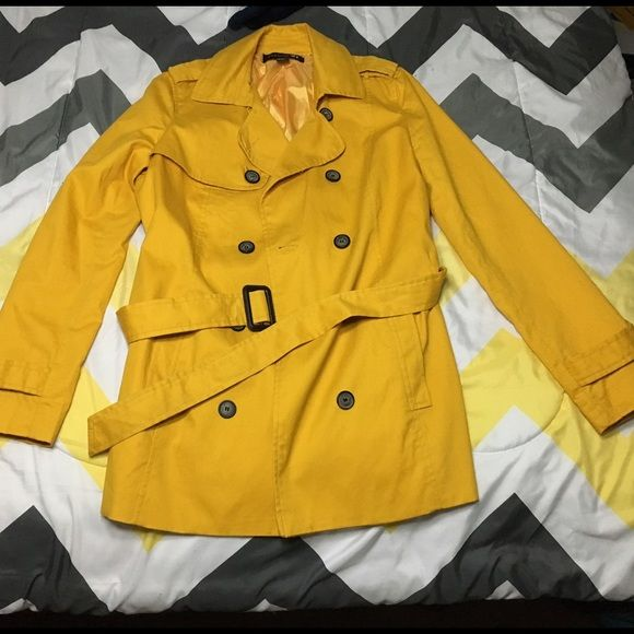 Yellow Mustard Jacket This mustard yellow jacket is light & has a cute belt. It also buttons down. Forever 21 Jackets & Coats Trench Coats