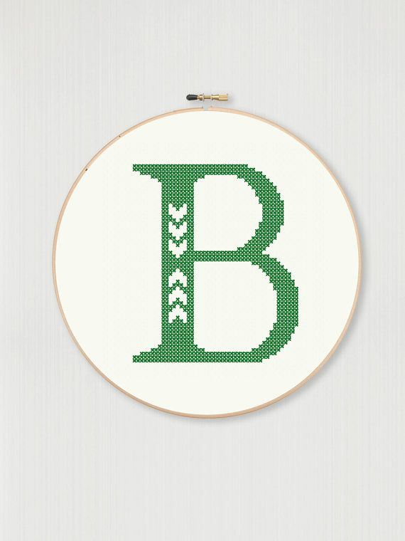 Cross stitch letter B pattern with chevron by LittleHouseBliss