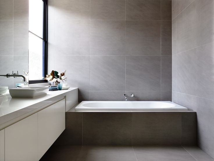 light filled bath in soft gray and white - | Canny Architects