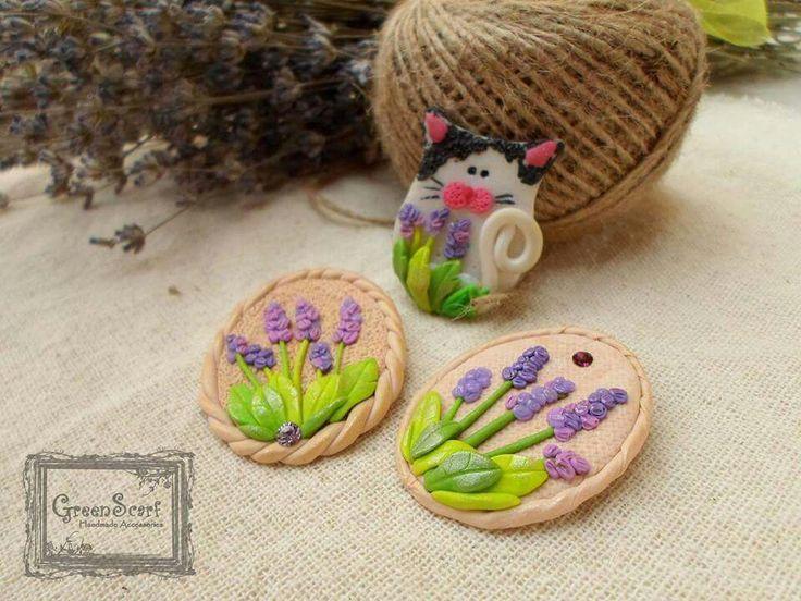 Handmade lavender brooch