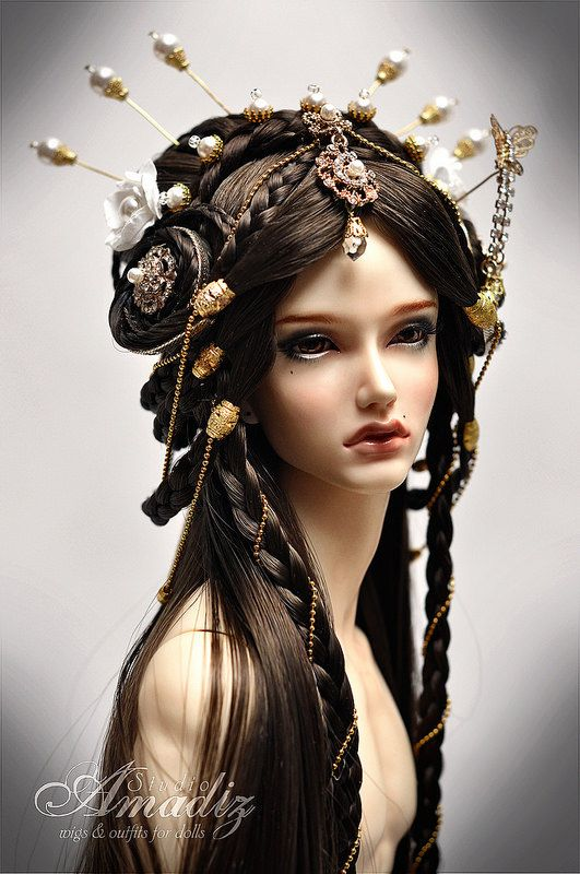 Arabian fantasy hairstyle wig for BJD                                                                                                                                                                                 More