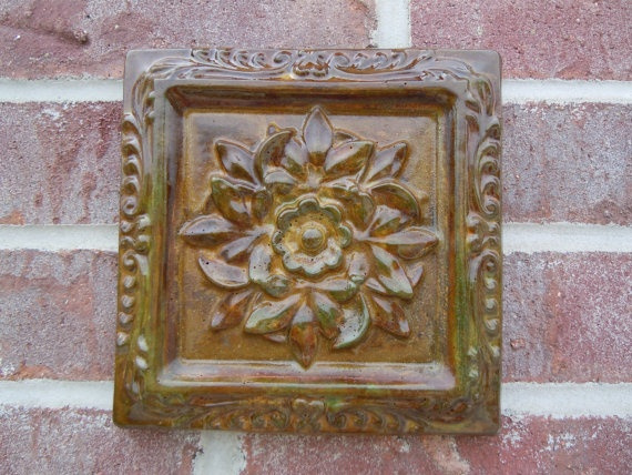 concrete old world decor square tile by concreteyarddecor on etsy 1500 - Concrete Tile Garden Decor