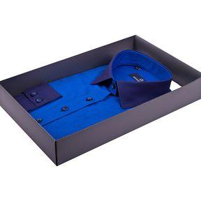 Синяя женская рубашка с комбинированным воротником купить недорого в Москве