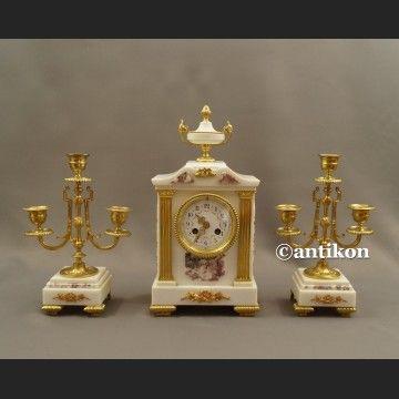 Zegar kominkowy ze świecznikami Francja biały marmurowy