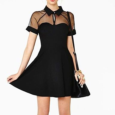 Woman's Sexy Slim Stitching Chiffon Raglan Sleeve  Dress – CAD $ 19.91