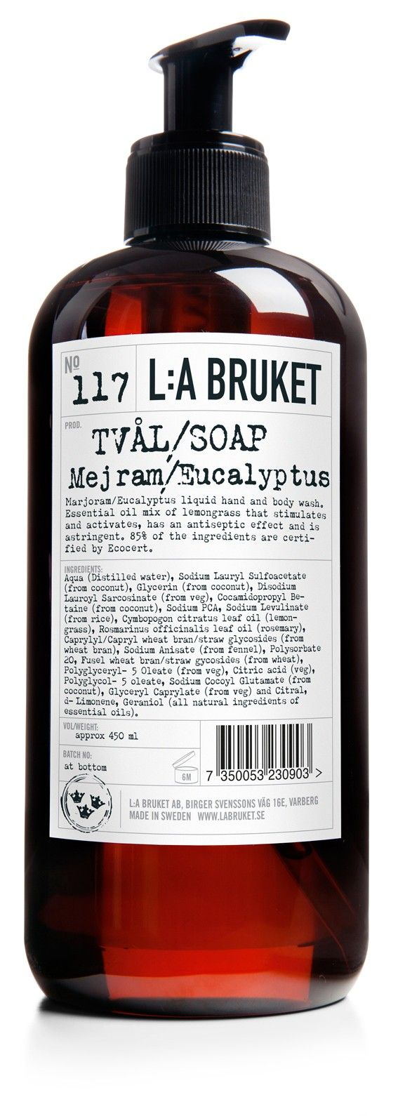 L:a Bruket Nr. 117 Flytande tvål Mejram/Eucalyptus 450ml - Eko | Fina Mig