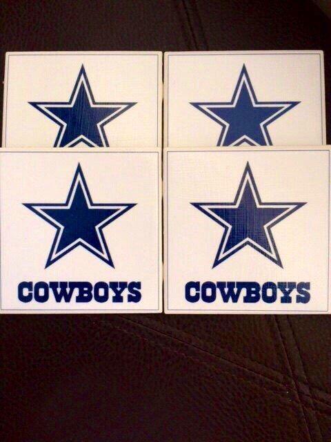 NFL Coasters (Pick your favorite team).  Cowboys, Steelers, Ravens, Broncos, Colts, Panthers, Patriots, Bengals, Browns, Jets, Bears, Bills by TheKristKorner on Etsy https://www.etsy.com/listing/253320300/nfl-coasters-pick-your-favorite-team
