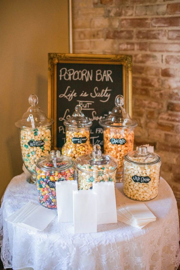 Instead Of A Traditional Dessert Table Treat Your Wedding Guests To Gourmet Popcorn Barn Add Snack Bags So They Can Take Some Home As Sweet Edi