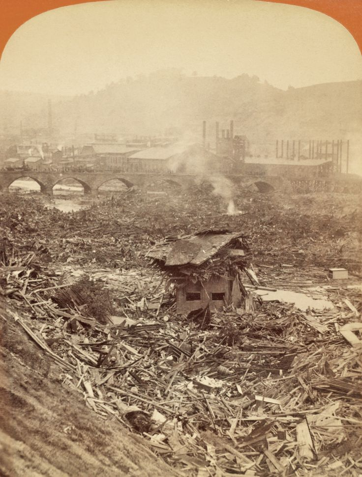 The Johnstown Flood, 1889.  Scene of the fire at the Stone Bridge