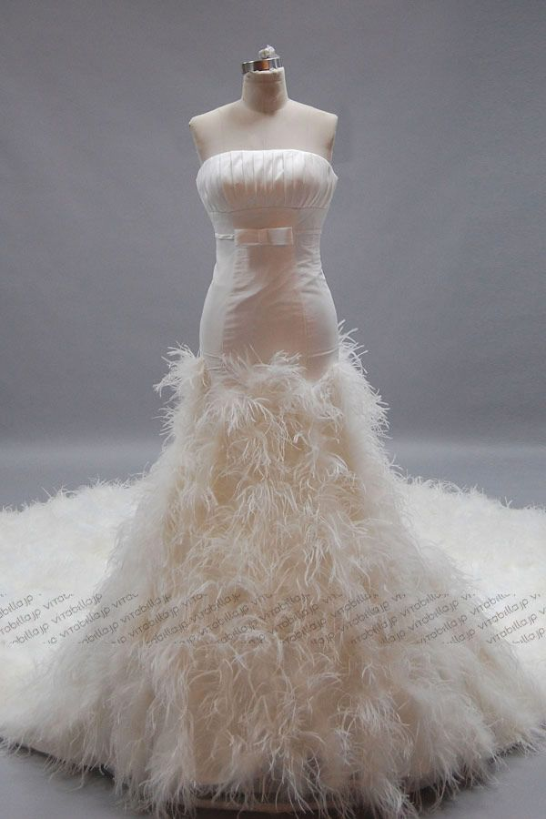 feathers wedding dress