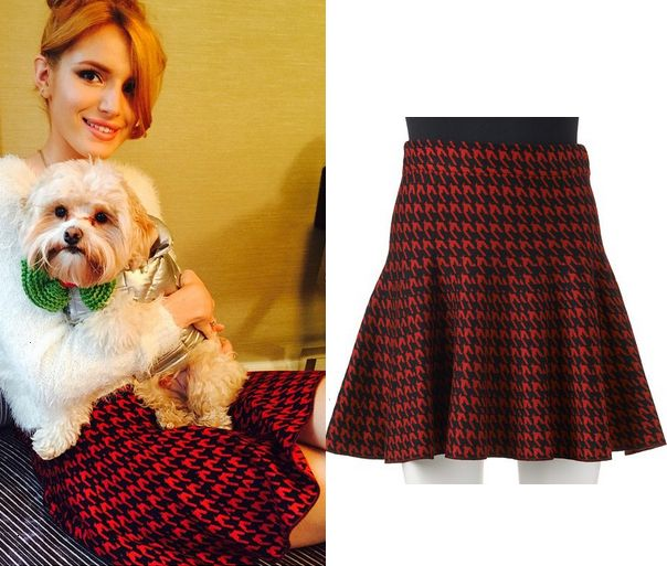 Bella THorne wears this Kohl's Candie's Houndstooth Sweater Skirt in an instagram post with her pup Kingston heading to the Candies office.