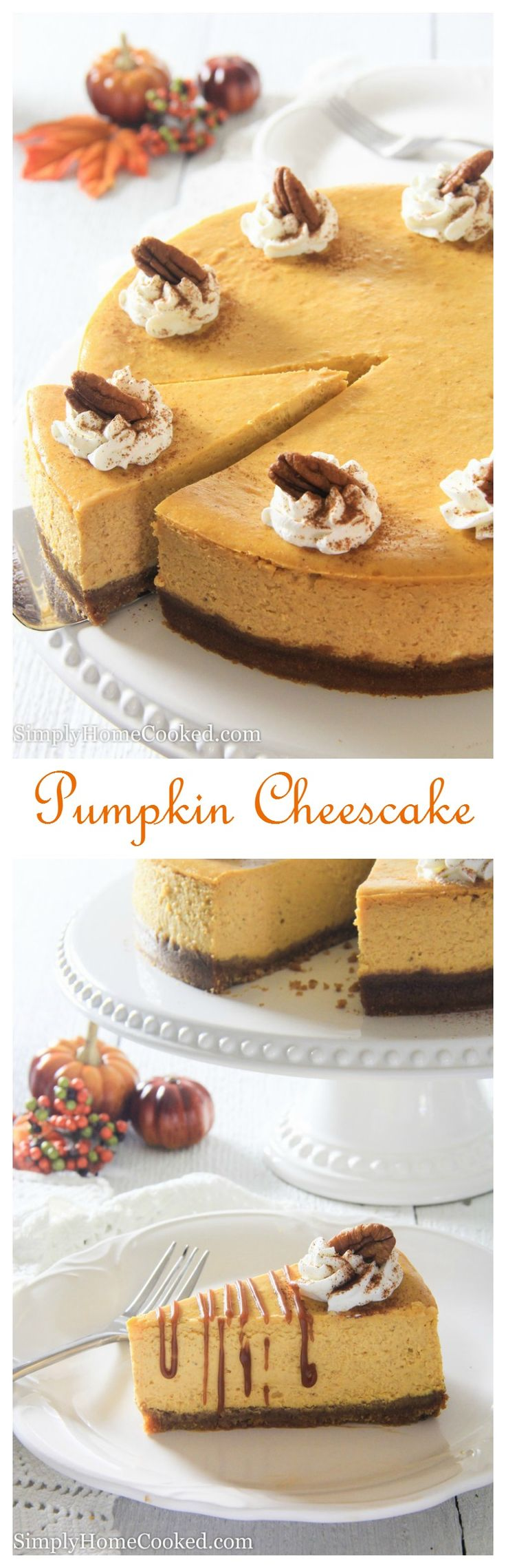 Make this pumpkin cheesecake for Thanksgiving dessert. It's the perfect cross between cheesecake and pumpkin pie.