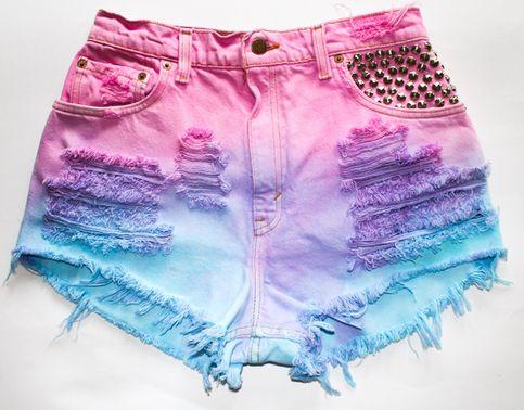 tie dye/ blue/pink/purple/ripped/fringe/stud pocket