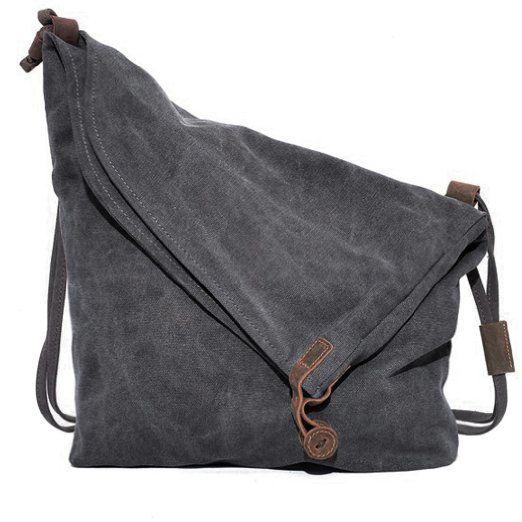 Fashion Plaza Canvas Unisex Tasche retro literarischen Hochschule Stil Schultertasche Messenger Bag koreanische Version C5069 (grau)