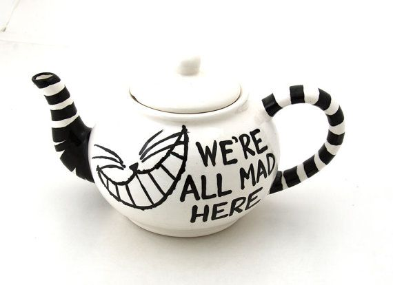 Alice in Wonderland Teapot We're All Mad Here by LennyMud on Etsy,