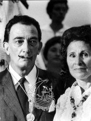 In Portlligat, 1958 (phot, by Oriol Maspons - This year, On August 8th, Dalí and Gala were married at the Els Àngels Shrine in Sant Martí Vell, near Girona, Catalonia. See full short biography: http://www.salvador-dali.org/dali/en_bio-dali/