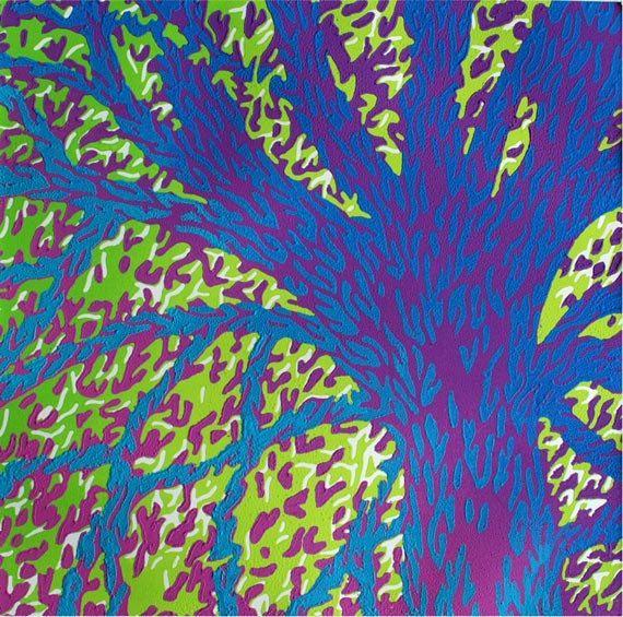 Reduction Linocut Turquoise Tree Handprinted by Eveline van der Eijk