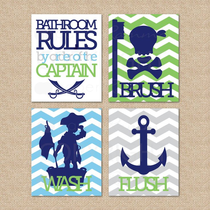 Pirate Bathroom Rules...by order of the Captain...Wash, Brush, Flush // 4 Print Set // Kids Bathroom Giclée Prints, 8x10 // MiXnMaTcH SALE. $55.00, via Etsy.