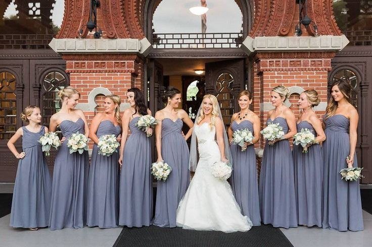 Bridal Party - bill levkoff - bridesmaid bouquets - augusta jones - all my girls - charcoal bridesmaids - pewter