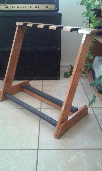 5 space guitar stand handcrafted with select AAA Cherry wood!