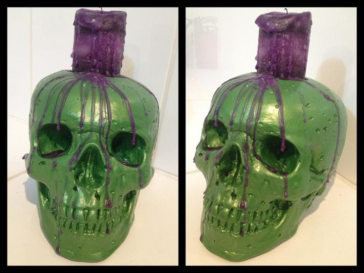 Skull, candle holder, metallic green, purple candle - Kreepy Kulture