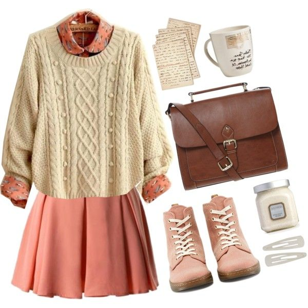 Very cute and comfy outfit with the dirty pink dress and the white sweater, brown satchel purse, and the same pink oxford heels.